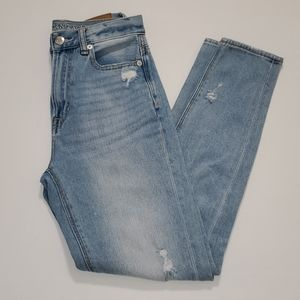 AEO light wash destroyed high rise Mom jeans